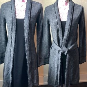 Joseph Ribkoff Long Cardigan with Ties 6US Grey